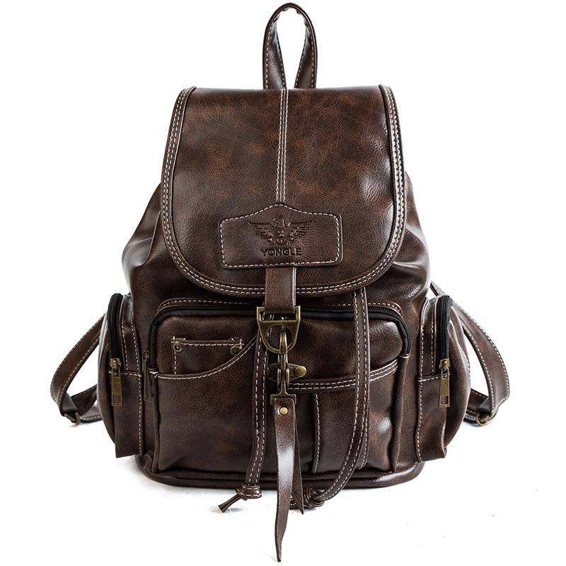 71d20c0763900f Vintage Leather Backpack For Women 2018 Teenage Girls School Bags Large  Capacity Drawstring Backpacks High Quality Travel Bags Backpacks For Women  Backpacks ...