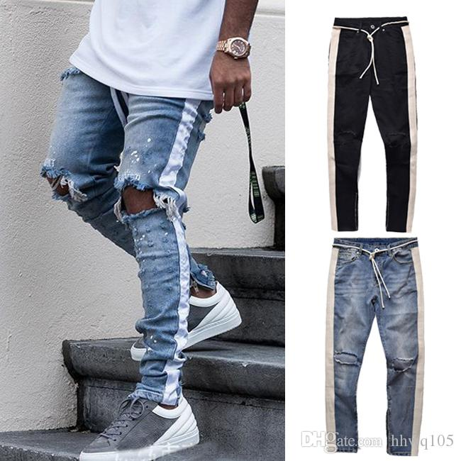 e10fc3202a61 2019 Slim Fit Striped Zipper Jeans For Men Designer Knee Holes Destroyed Denim  Pants Distressed Ripped Motorcycle Biker Jeans Streetwear YCH0506 From ...
