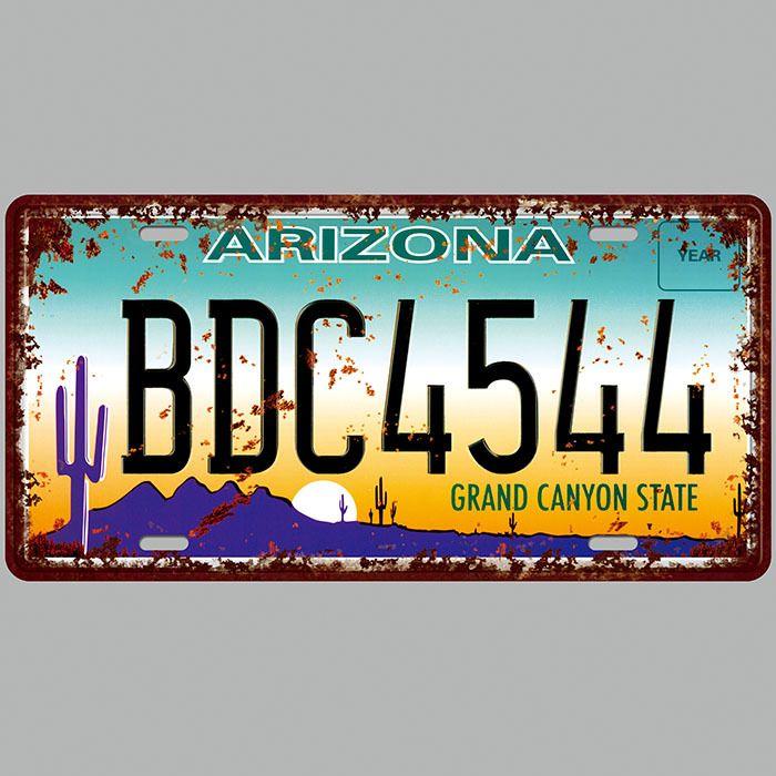 Arizona BDC4544 Süper Sıcak 3D Kabartma Retro Lisans Plakaları Vintage Tabela Sanat Duvar Plak dekor Ev Metal Boyama Bar Pub