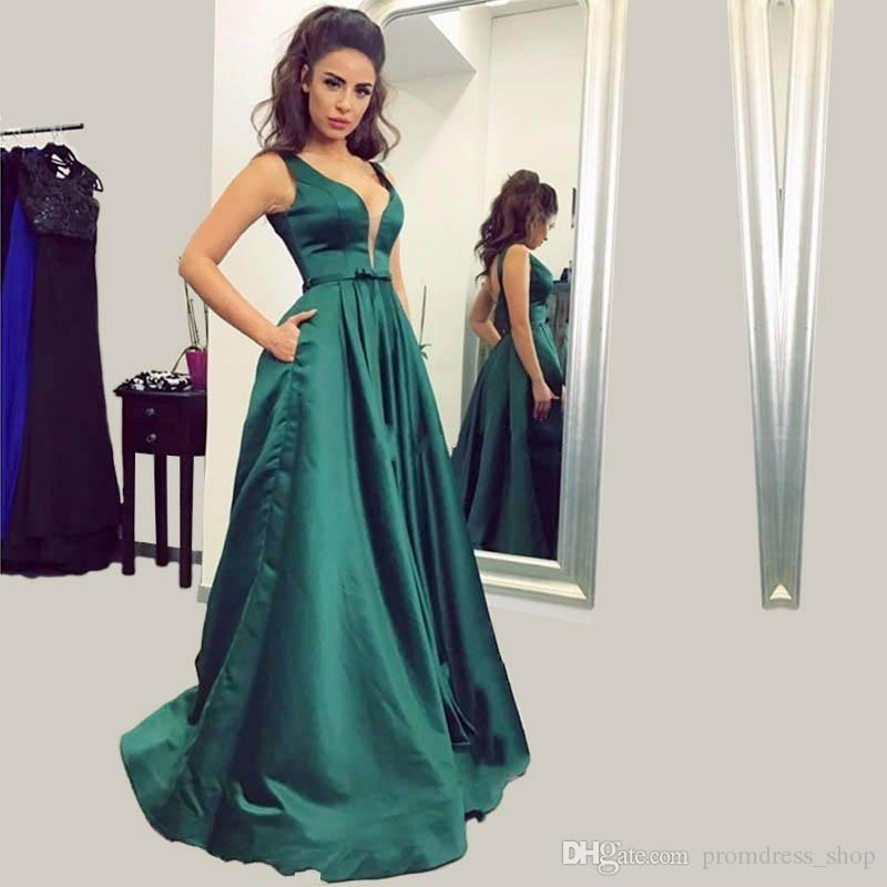 Simple 2018 A Line Prom Dresses Dark Green V Neck Long Evening