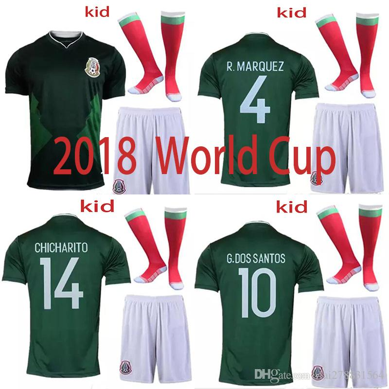 4fafd586e 2018 World Cup Soccer jersey kid Kits Mexico national team home green  CHICHARITO M FABIAN G DOS SANTOS children s suit+sock