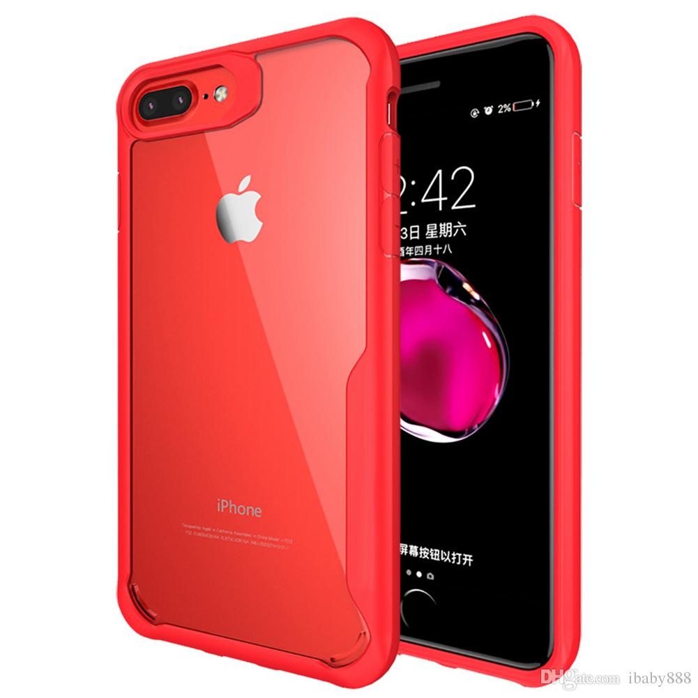 Greaseproof Super Clear HD Transparent TPU Back Cover Case with Flexibility PC Frame Anti-Fingerprints for iPhone 8 Plus 7 6 6S Goophone i8