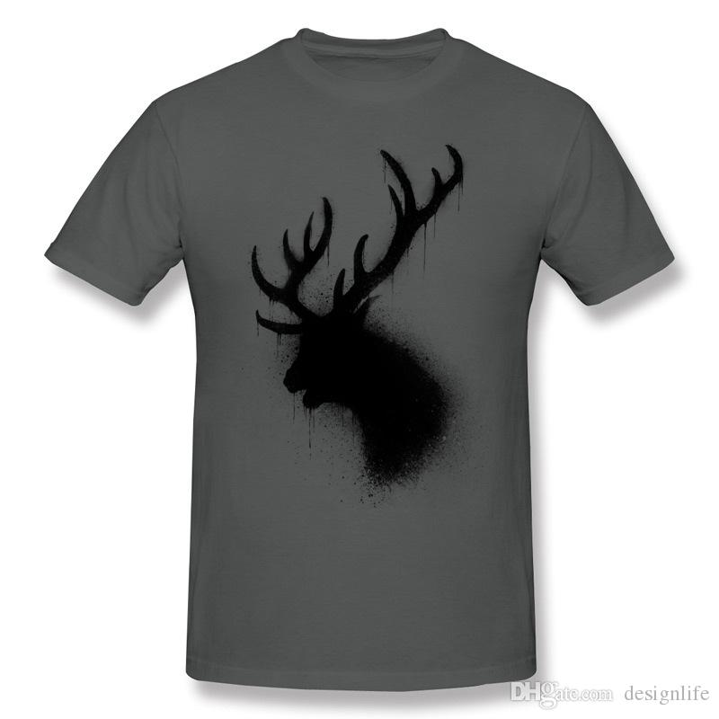En iyi Seçim erkekler Saf pamuk Koyu geyik T-Shirt erkek Crewneck Turuncu Şort T-Shirt Ekstra büyük Boy Yaz T-Shirt