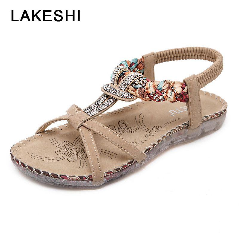 c1b019be423d6 LAKESHI Rhinestone Ladies Sandals Summer Woman Shoes Bohemian Women Sandals  Fashion Flip Flops Women Casual Flat Shoes Birkenstock Sandals Shoes For  Women ...