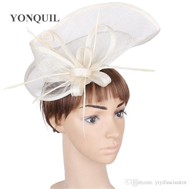 b6789bd395a Ladies Elegant Chapeau Hair Fascinators For Wedding Bridal Married  Headdress With Fancy Feather Ivory Kentucky Party Hats SYF284 Hat For A  Wedding Hat For ...