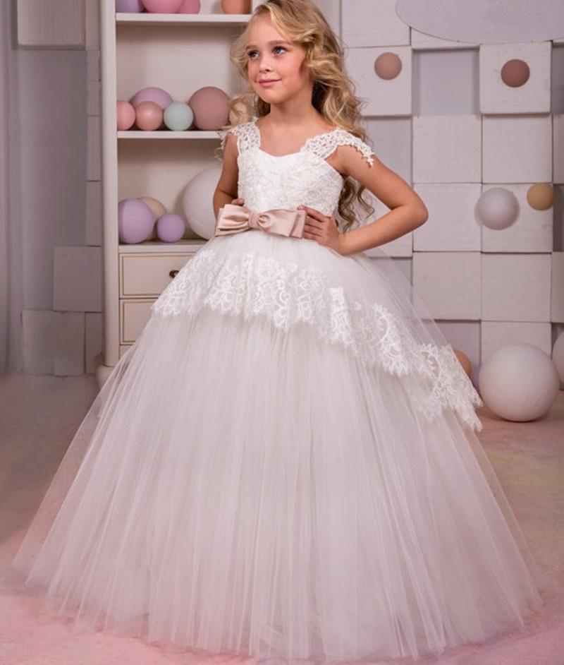 8660aa7eb6e9 Acquista Principessa Formale Bambini Lolita Abito Pizzo Fiore Ragazza Abiti  La Cerimonia Nuziale Lungo Pavimento Lunghezza Bambino Festa Compleanno  Vestito ...