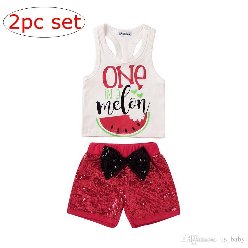 52404abf8 INS Baby Girl Summer Watermelon Outfit Newborn Sleeveless Vest Tank  +Sequins Bow Shorts 2PCS Set Children Clothing set