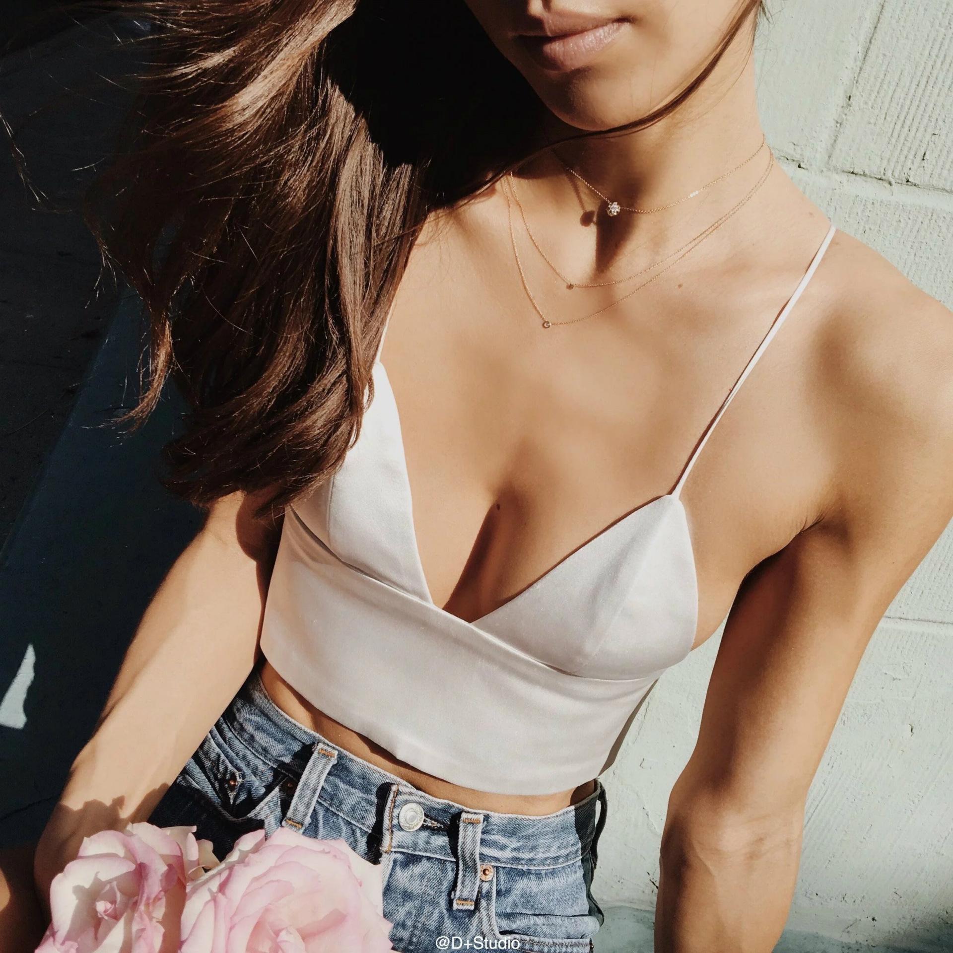 ba452090fe008 2019 Imitated Silk Fabric Satin Suspenders Tank Bra Croptop 2018 Women Sexy  Solid Light Khaki Black White Bralet Bralette Crop Tops From Chenhanyang