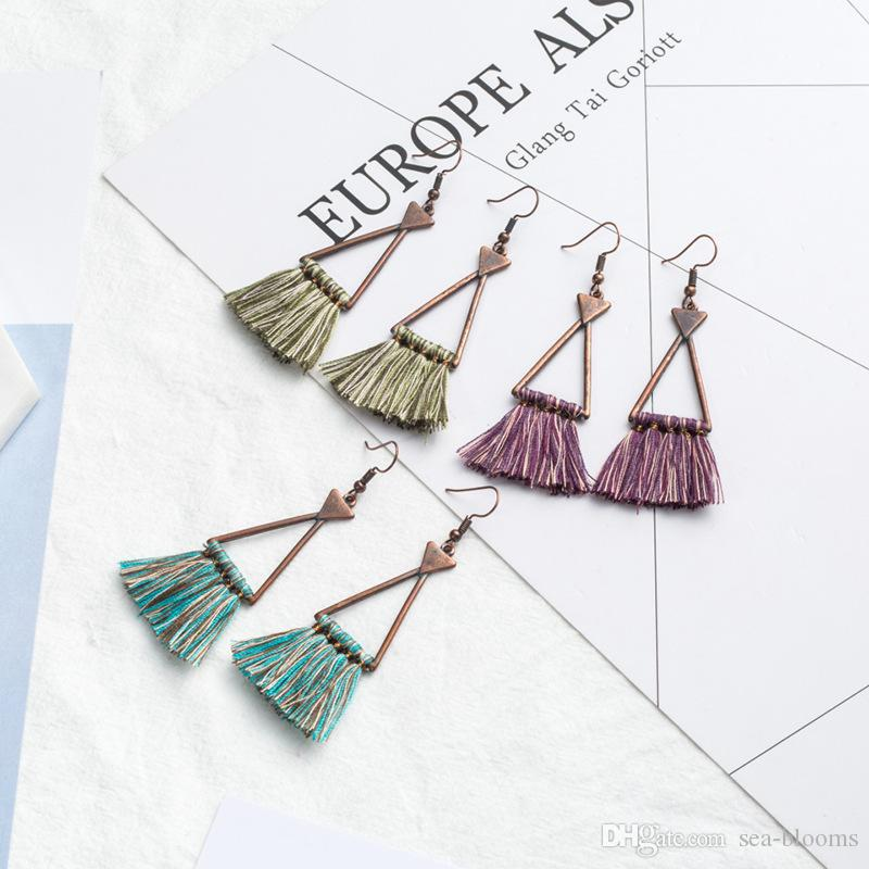 Vintage Retro Geometric Triangle Tassel Drop Earrings Women Ladies Fashion Jewelry 2018 Summer Bohemian Charm Ethnic Earring D926S