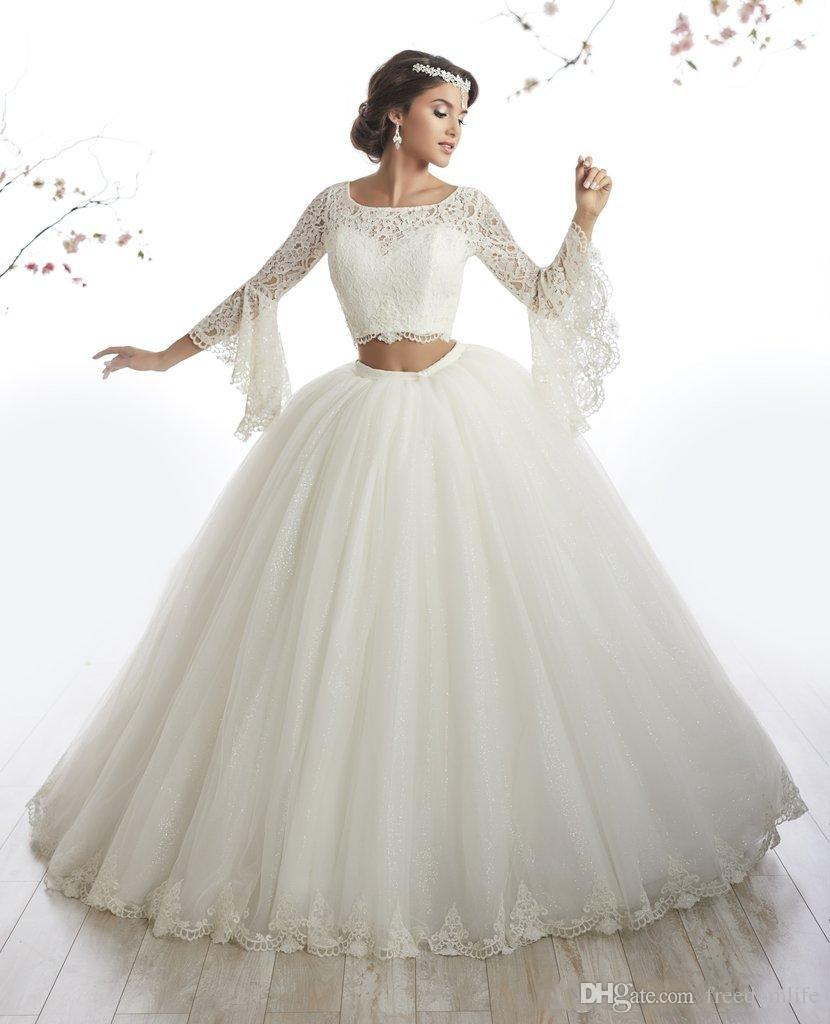 New Style Lace Long Sleeve Two Piece Quinceanera Dresses Gowns vestidos de 15 anos debutante Ball Gown Long Gothic Sequined Prom Dress