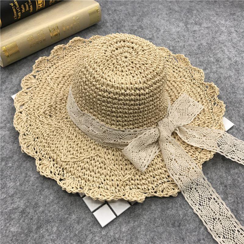 df792dde6b6 Compre Sombreros De Sol De La Playa Del Verano Para Las Mujeres Sombrero De  Ganchillo Plegable De La Paja Muchachas Planas Del Arco Sombrero De Los ...