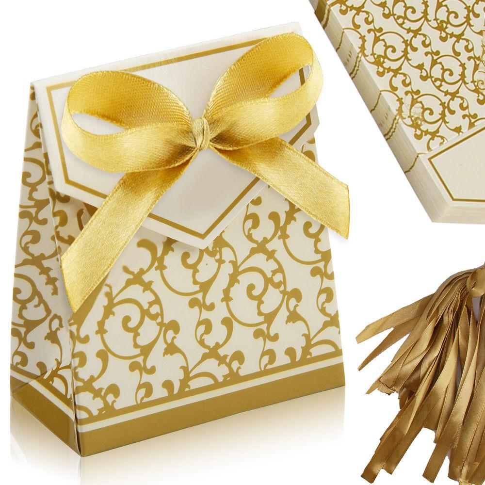 Gold Ribbon Wedding Favour Sweet Cake Gift Romantic Heart Candy Box ...