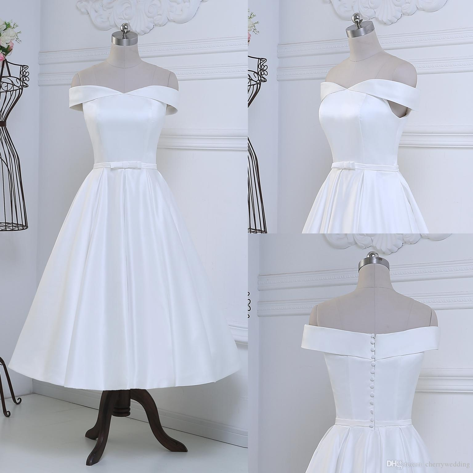 Discount Off The Shoulder Wedding Dress Short Bridal Satin Tea Length Gowns Fabric Button Vintage Inspired Gown Rll028: Short Vintage Inspired Wedding Dresses At Reisefeber.org