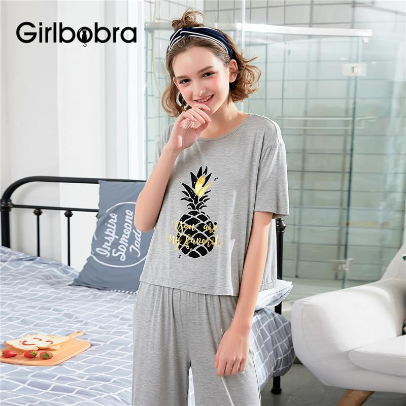 4b21364cbfc2 Women Pajama Set Womens Tops And Blouses Home Suit Fruit Pattern Short  Sleeve Loose Sleepwear Set Pajama Clothing Cute Pajamas UK 2019 From Bowse