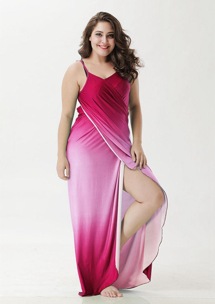 Plus Size Swimsuit Cover Ups For Women Backless Bikini Wrap Gradient Beach Dress XL-XXXXXL