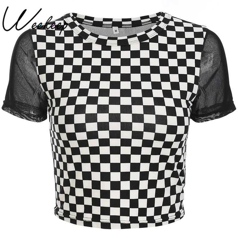 Weekeep Women Cropped Checkerboard Patchwork Mesh t shirt 2018 Summer Back Perspective O-neck tshirt Streetwear Plaid Crop Top