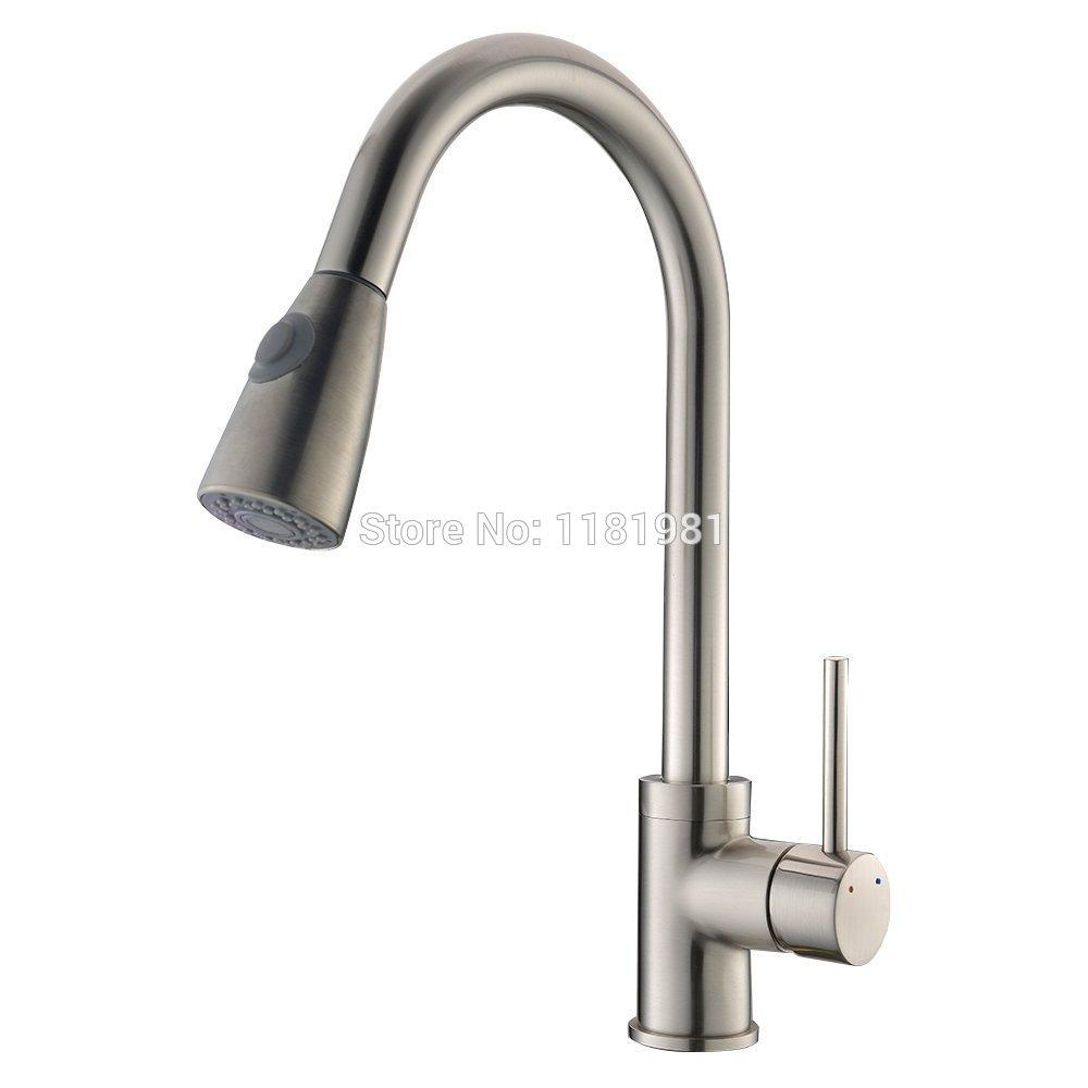 2019 Satin Nickle Brushed Finishing Flexible Hose Pull Out Kitchen