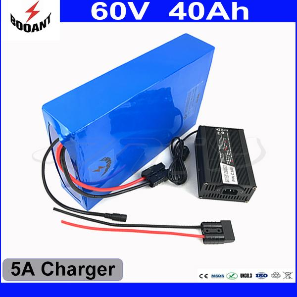 Electric Bicycle Battery 60V 40AH For Bafang BBS Motor 2400W With 5A Charger 50A BMS Scooter Battery 60V EU US Free Duty
