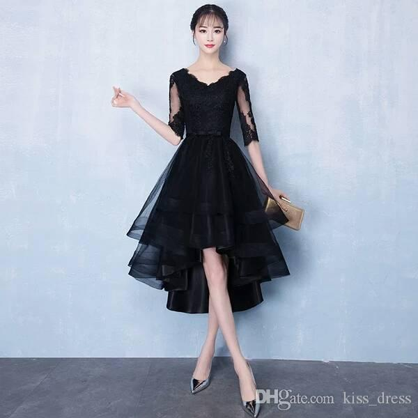 f31bb95c80 Black Lace Short Prom Dresses Vintage Style V Neck Bow Sash Tulle Half  Sleeve High Low Party Evening Dresses Special Occasion Gowns P313 Prom Dress  Store ...