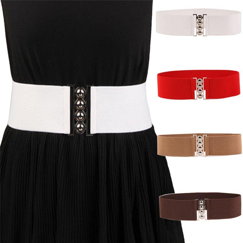 9fb3bef7 1pcs mujeres elegantes cinturones cinturones hebilla de plata negro blanco  ancho elástico corsé elástico