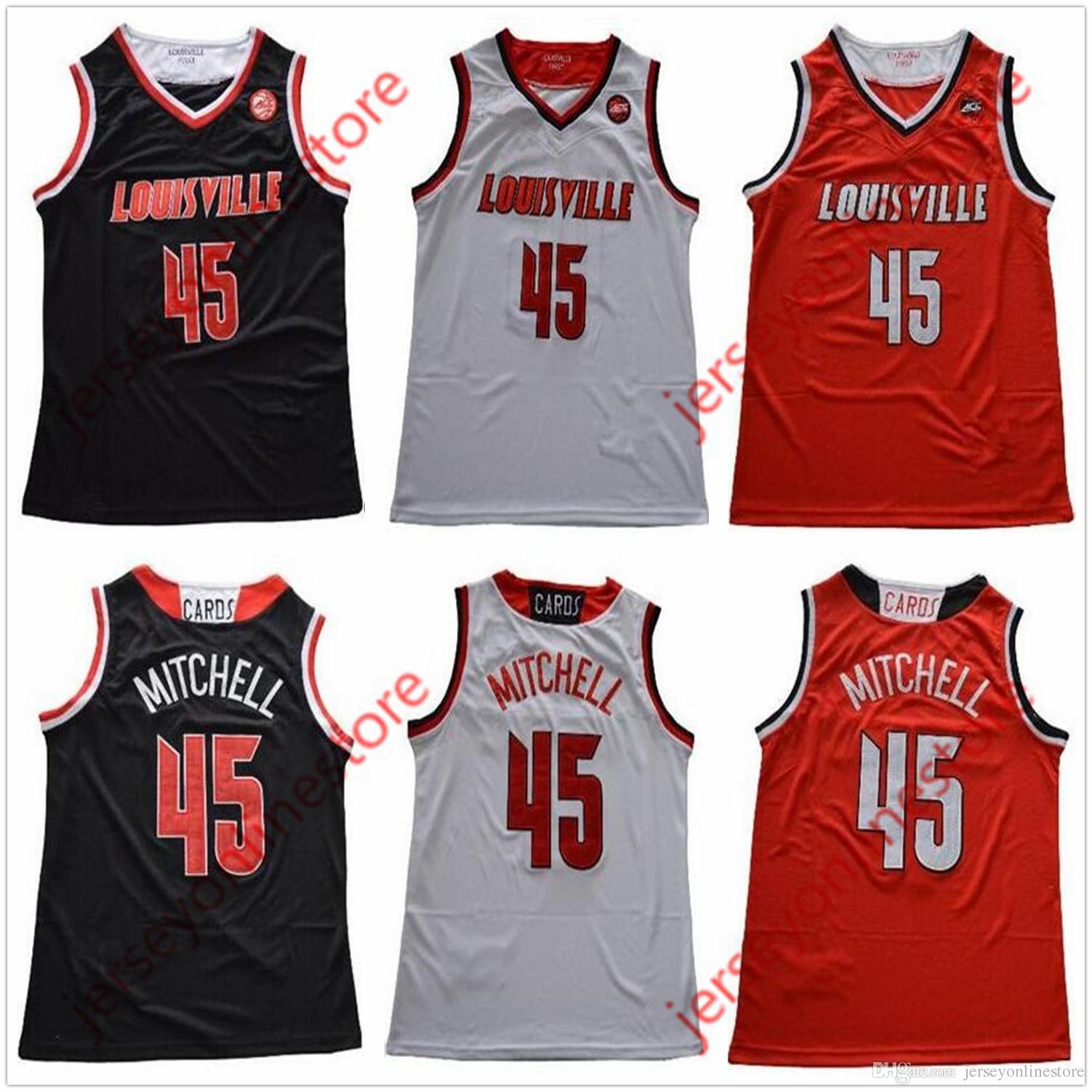 2fb946212 Men Louisville Cardinals  45 Donovan Mitchell Jersey Black Red White ...