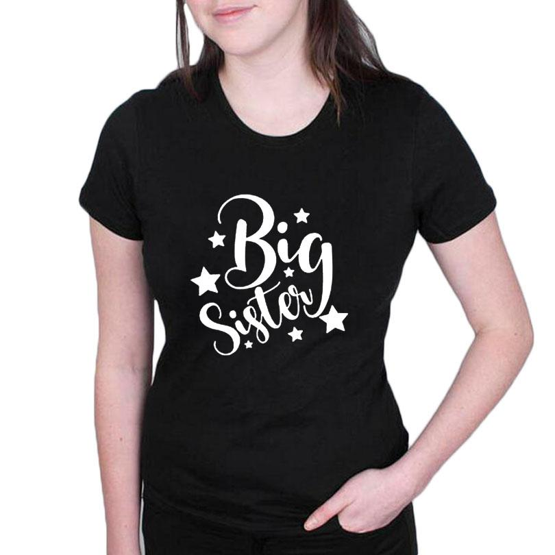 3979c132 Women's Tee Funny Pregnancy Announcement T Shirt Big Sister Graphic Tee  Shirt Femme 2018 New Fashion Women T Shirt Black White Printing