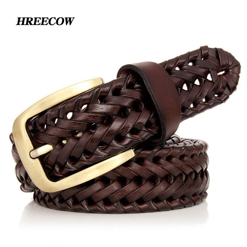 Compre Unisex Hombres Mujeres Cinturón De Cuero Genuino Masculino Femenino  Hebilla Tejida Tejida De Calidad De Lujo Diseñador De Moda Marca Cinturones  Para ... cc5fa9284acc