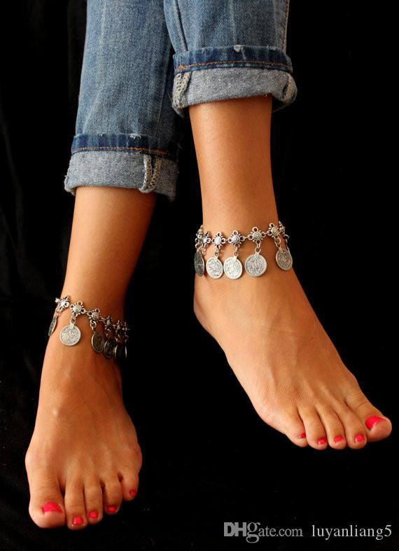 women Jewelry Big Anklets Vintage Ethnic summer Beach Multilayer Boho Ethnic Hippie Tassel Coin Barefoot Sandals body foot Jewelry wholesale