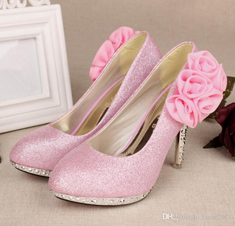 spring fine with high heels with round head princess girl shoes 2018 new sexy women's pink