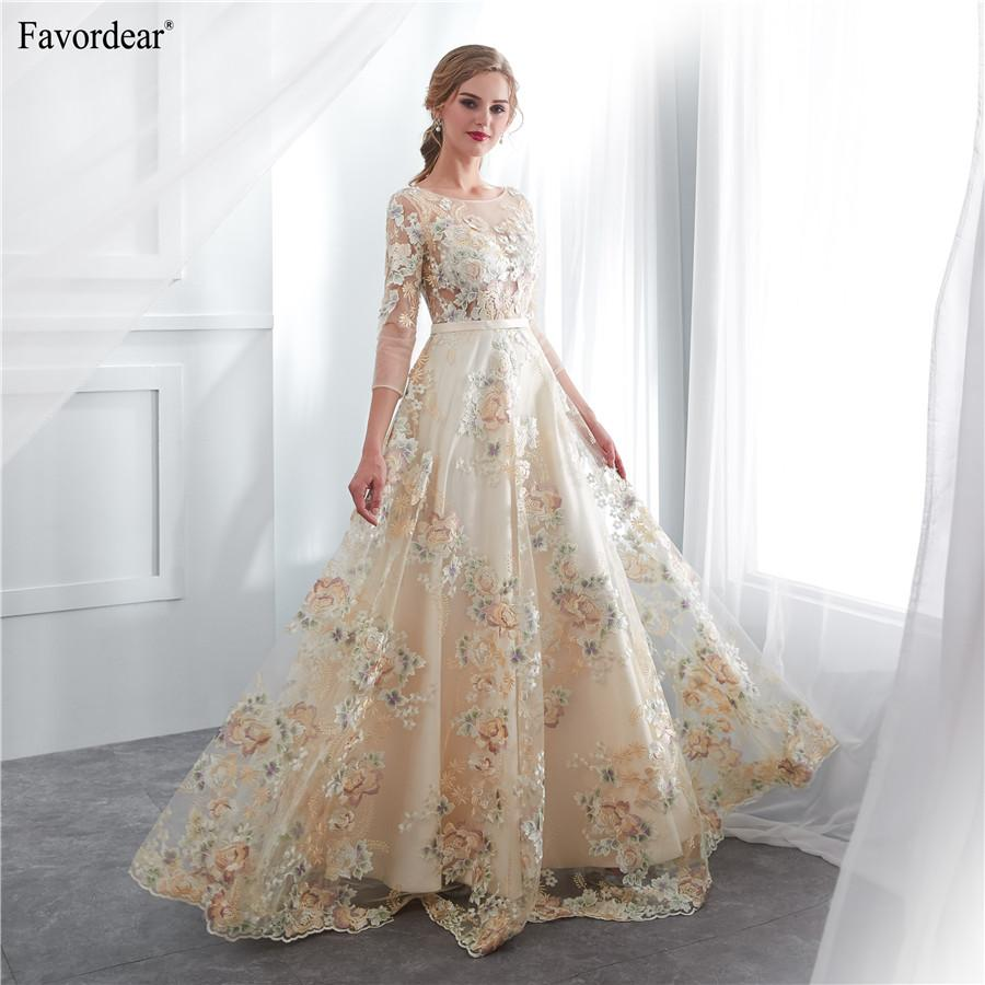 ... 2019 Vestido De Noiva Long Bridal Gowns Vestido De Noiva Vintage Flower Lace  3 4 Sleeve A Line LongWedding Dress A Line Gowns A Line Princess Wedding ... 755160805d39