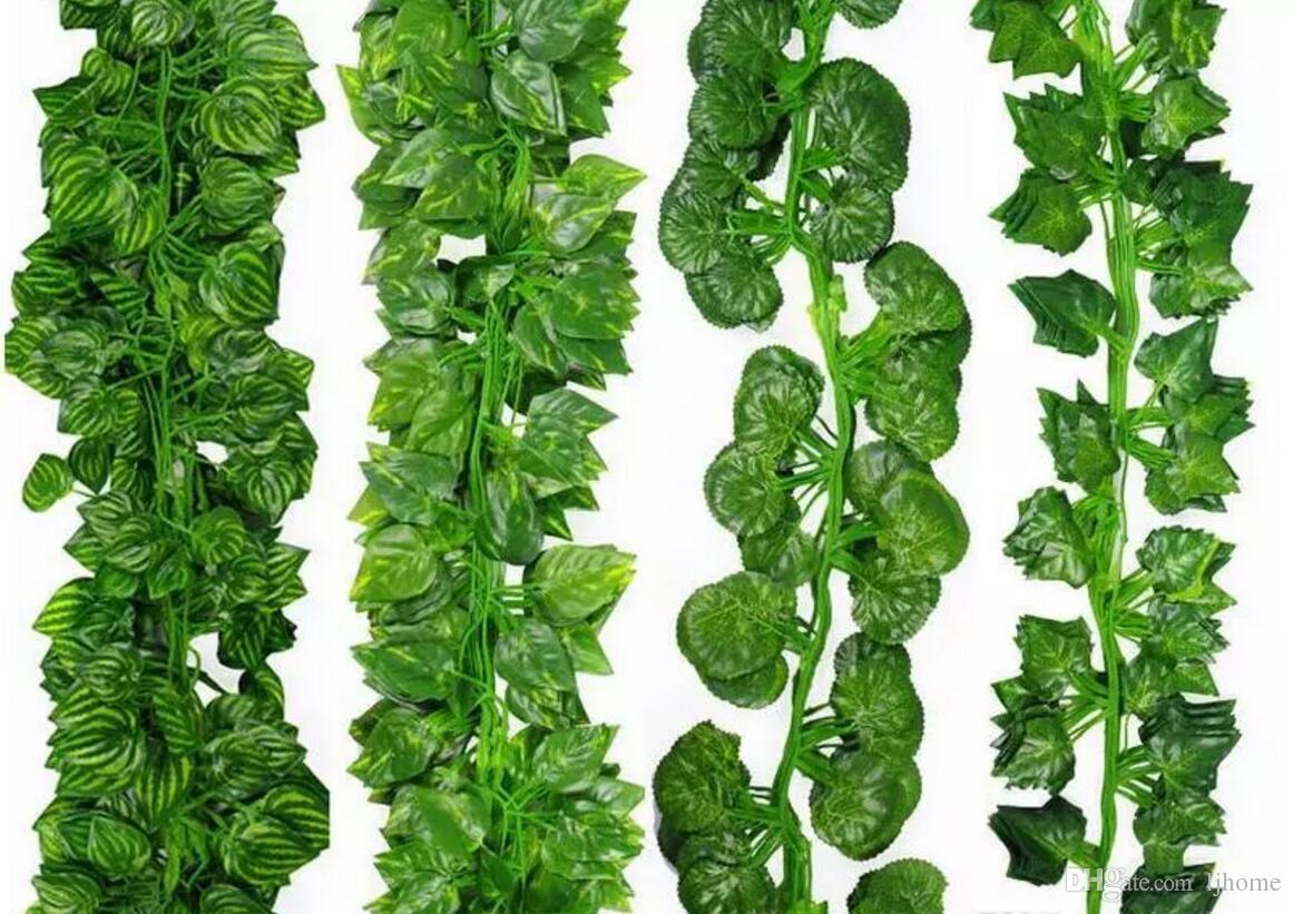2 Mt 24 Stücke Wired Ivy Blätter Garland Silk Künstliche Reben Grün Für Hochzeit Home Office Decoratiove Kränze Beste Verkauf