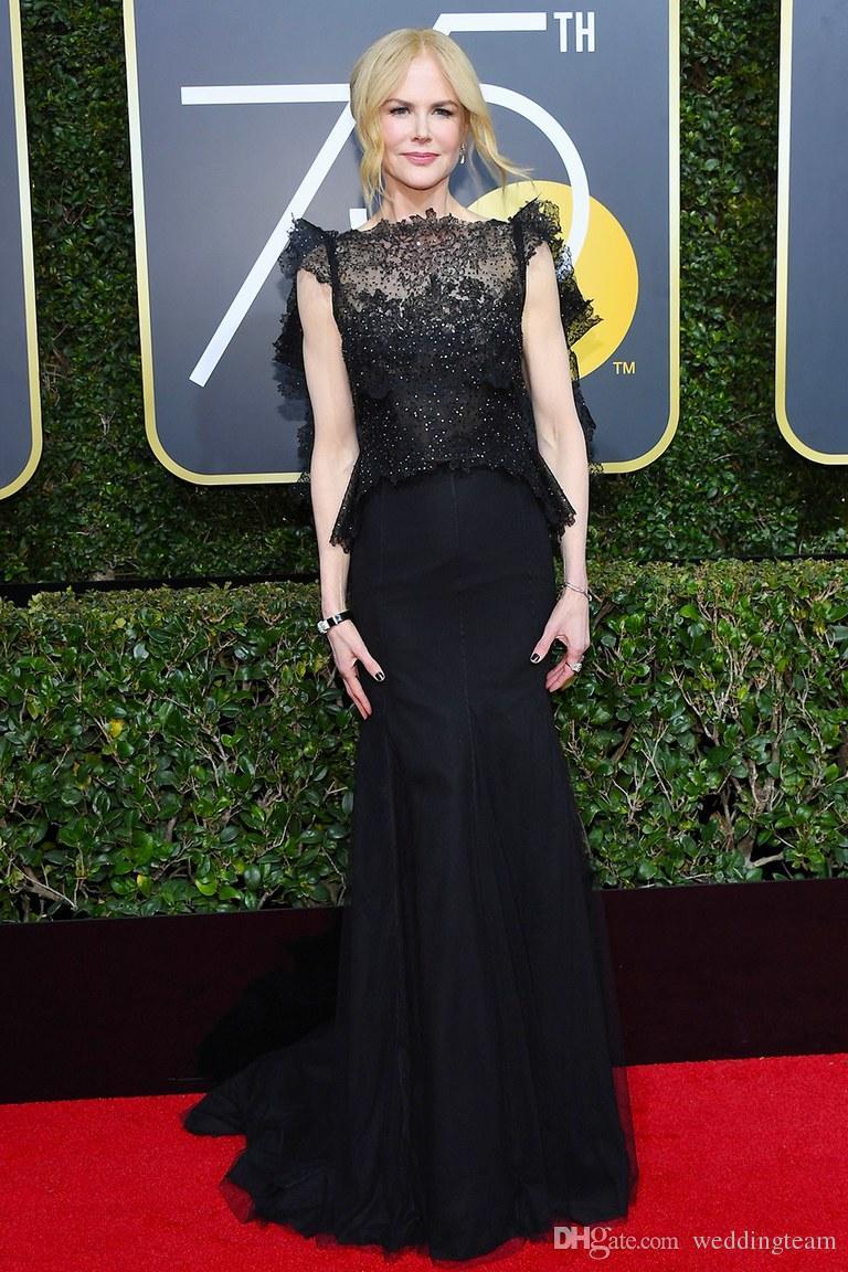 Golden Globe Awards Mermaid Prom Kleider Zwei Stücke Spitze Abendkleid Sheer Bateau Neck Perlen Nicole Kidman Roter Teppich Celebrity Dress