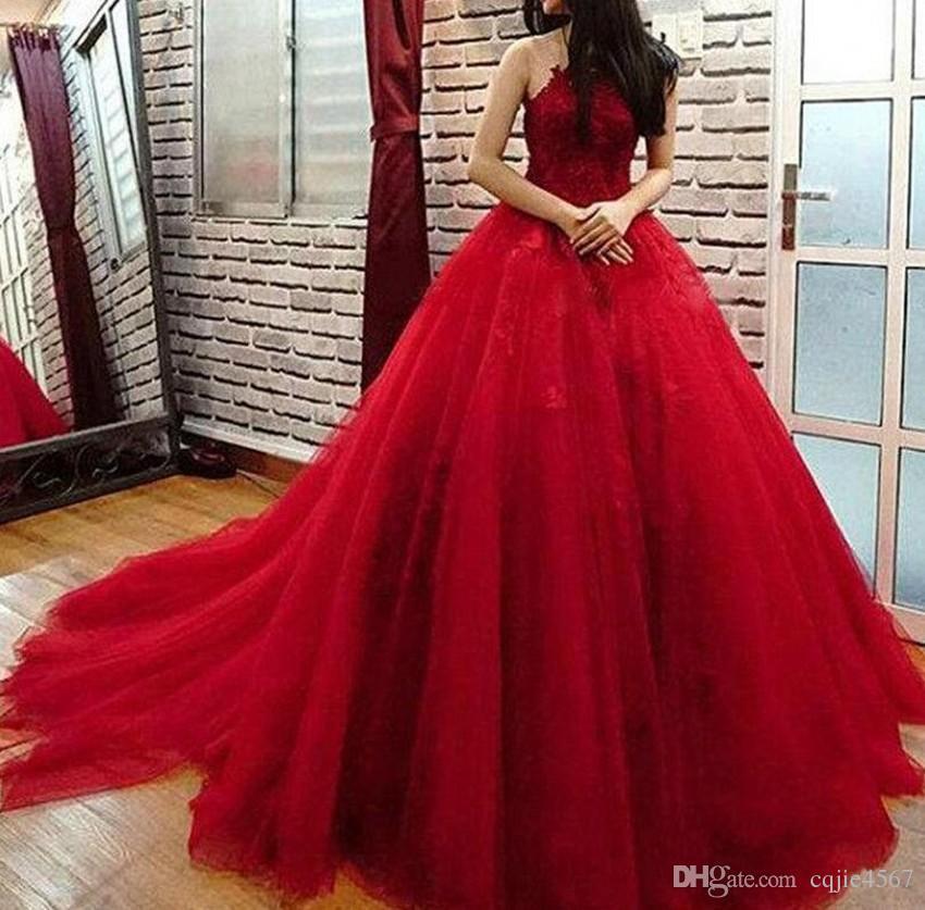 Abiti Eleganti 18 Anni.Acquista New Elegant Red Cheap Quinceanera Dress Jewel Lace