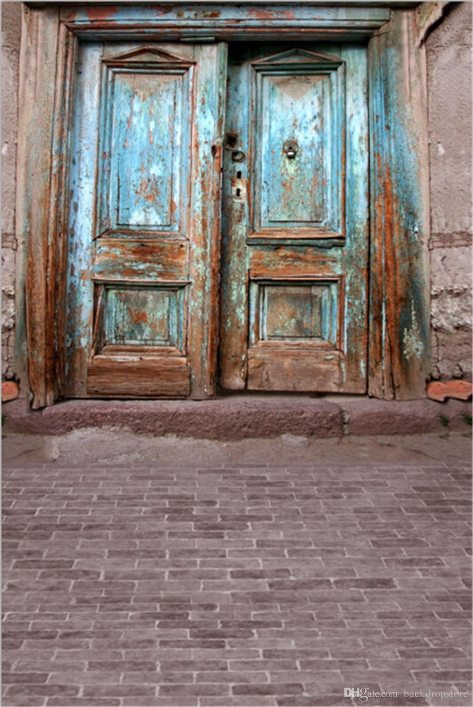 2019 Blue Painted Old Wooden Door Backdrops Brick Floor Baby Newborn