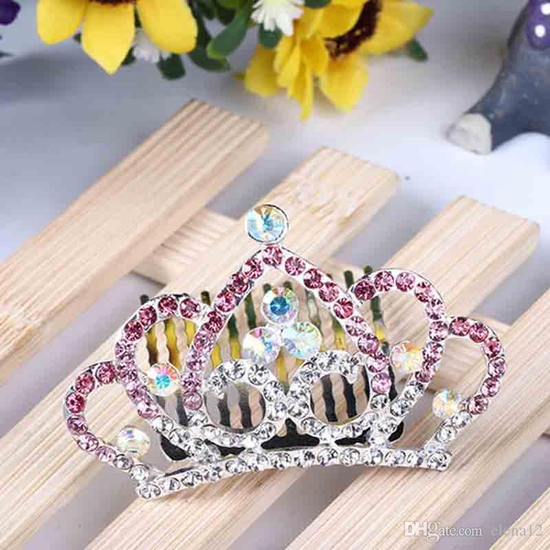 Свадебная Кристалл Rhinestone Корона Сердце Корона шпилька для ребенка подарок на день рождения Женщины Дети Диадемы Гребень Волос 120017