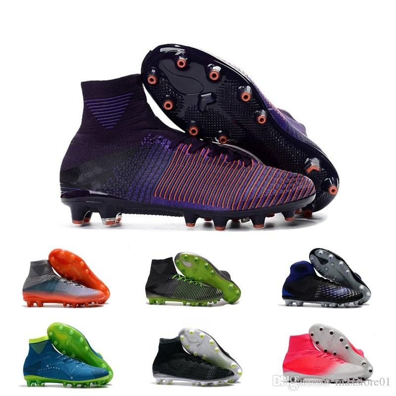 Compre Zapatillas De Fútbol Para Hombre Marca 2019 Para Hombre Mercurial  CR7 Superfly V AG Botas De Fútbol Para Niños Magista Obra Mujeres Botines De  Fútbol ... 842338c798c71