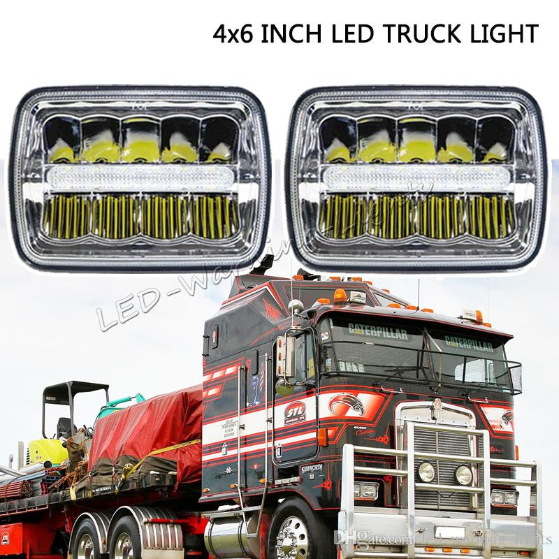 2019 free 2x 45w 4x6 inch led sealed headlight with h4 plug  h4651/h4652/h4656/h4666/h654 truck headlamp replacement work light heavy  duty trucks from