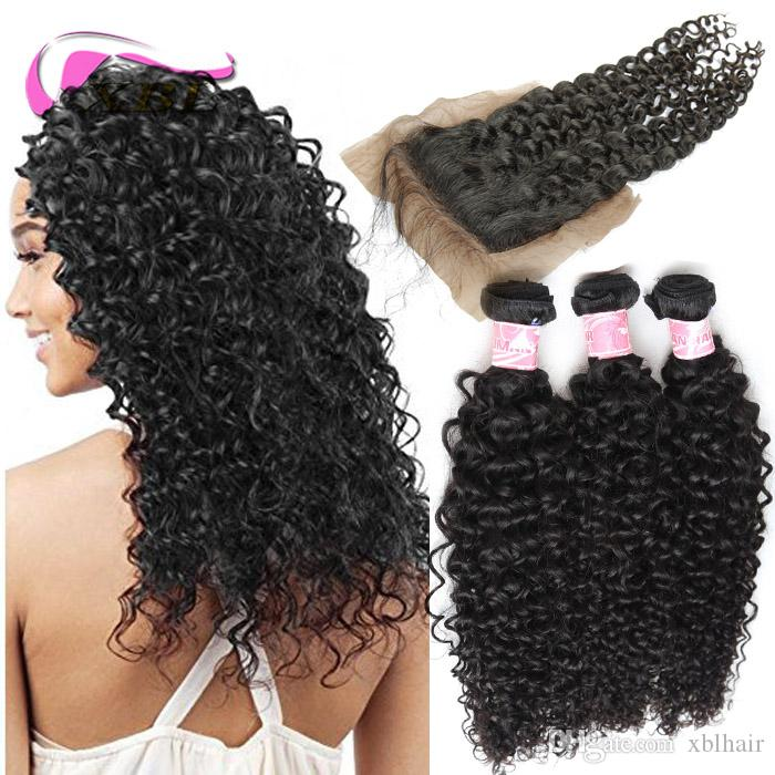 xblhair brazilian deep wave bundles with closure 3 bundles human hair extensions with one 4by4 silk base closure