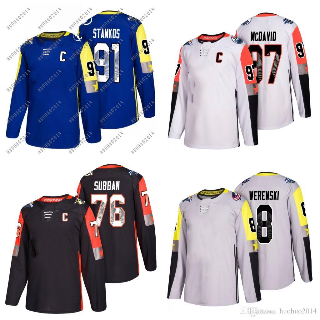 best loved 23852 fb2d8 2018 All-star Hockey Jerseys #76 P.K. Subban #91 Steven Stamkos #97 Connor  McDavid #8 Alex Ovechkin All Stiched Jerseys