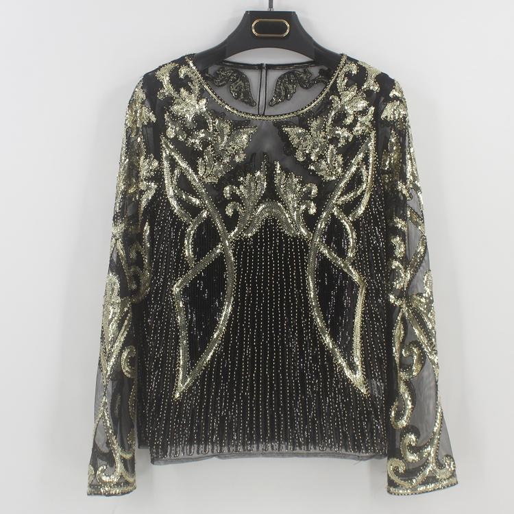 2019 Sexy Designer Beaded Sequin Blouse Long Sleeve See Through Sheer Mesh  Shirt Top Floral Strip Embroidery Women Blusa Camisa From Caesarl 7b8d377c0bc4