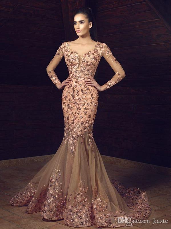Eleganti perline Abiti da ballo Scoop Vedere attraverso illusione maniche lunghe Abiti da sera Appliques Perline Tulle Cocktail Party Dress