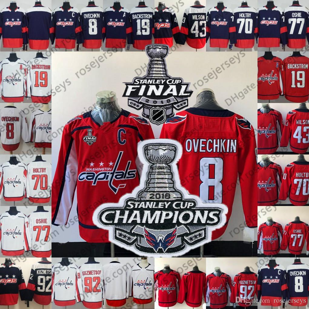 9d22f7aeb 2019 2018 Stanley Cup Final Champions Patch Jerseys Caps  8 Alex Ovechkin  77 TJ Oshie 92 Kuznetsov 70 Holtby Red Navy White Washington Capitals From  ...