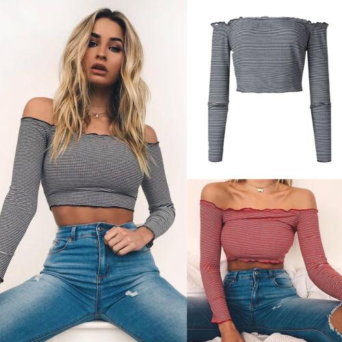 Sexy Womens Ladies Cotton Striped Bodycon Frill Off Shoulder Jumper Ribbed Blouse Shirts Long Sleeve Short Slim Crop Tops Shirt
