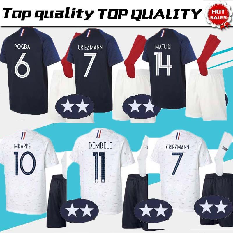 6289c6a336a 2018 19 Fr Adult Kit Pogba Soccer Jersey GRIEZMAN 2018 World Cup 18 ...