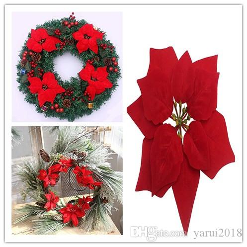 2018 wholesale 100p artificial silk flowers christmas poinsettia 2018 wholesale 100p artificial silk flowers christmas poinsettia decoration flower head wedding party wreaths 20cm 787 ems from yarui2018 1749 dhgate mightylinksfo