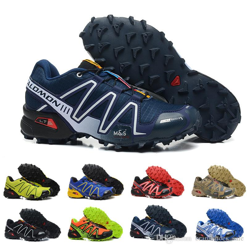 0bb7bcfc2bb543 Großhandel 2018 NEU Salomon Herren Schuhe Zapatos Hombre Speed Cross 3 CS  III Sport Turnschuhe Herren Schwarz Blau Gelb Speedcross Solomon Laufschuhe  Von ...