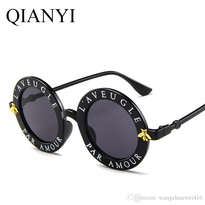 6f0193cfd Round Sunglasses English Letters Little Bee Sun Glasses Men Women Brand  Glasses Designer Fashion Male Female Best Sunglasses Dragon Sunglasses From  ...