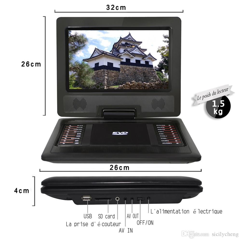 Wholesale Best sale 12 inch Portable DVD Player with 270° LCD screen,3 Hours Rechargeable Battery,Car DVD Player,With Game Function