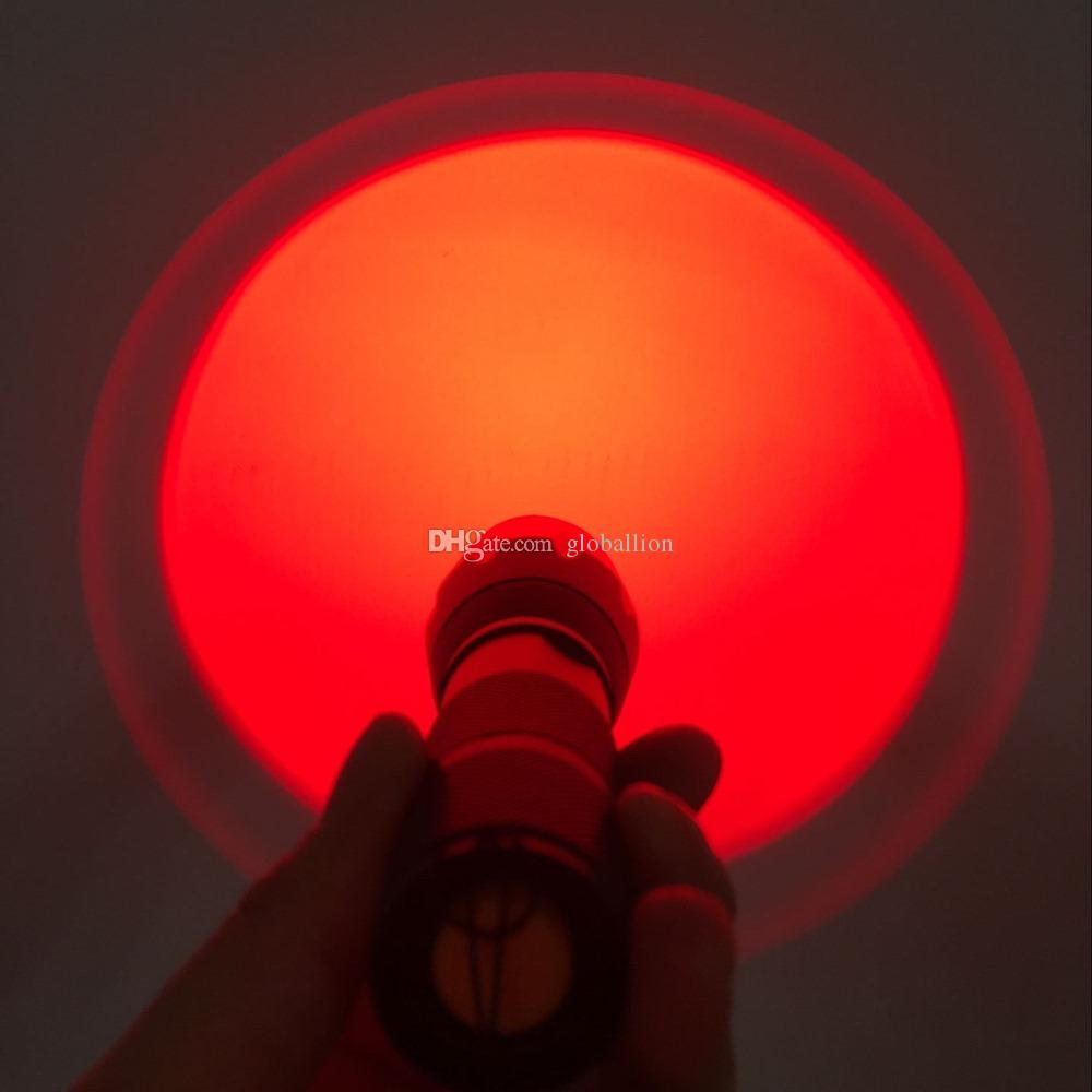 AloneFire E17 Zoomable Red Light Hunting Flashlight Tactical Torch Night Hunting Picatinny Gun Mount for Rail Rifle Barrel