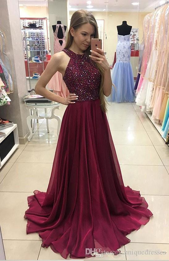 60951226b0c Elegant Burgundy Prom Dresses Long With Beads Sleeveless A Line Chiffon Evening  Gowns Formal Women Special Occasion Party Dress Camouflage Prom Dresses ...